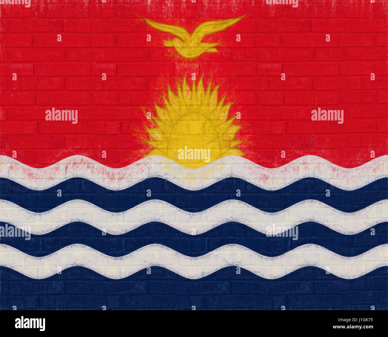 Illustration of the flag of Kiribati looking like it has been painted onto a wall - Stock Image