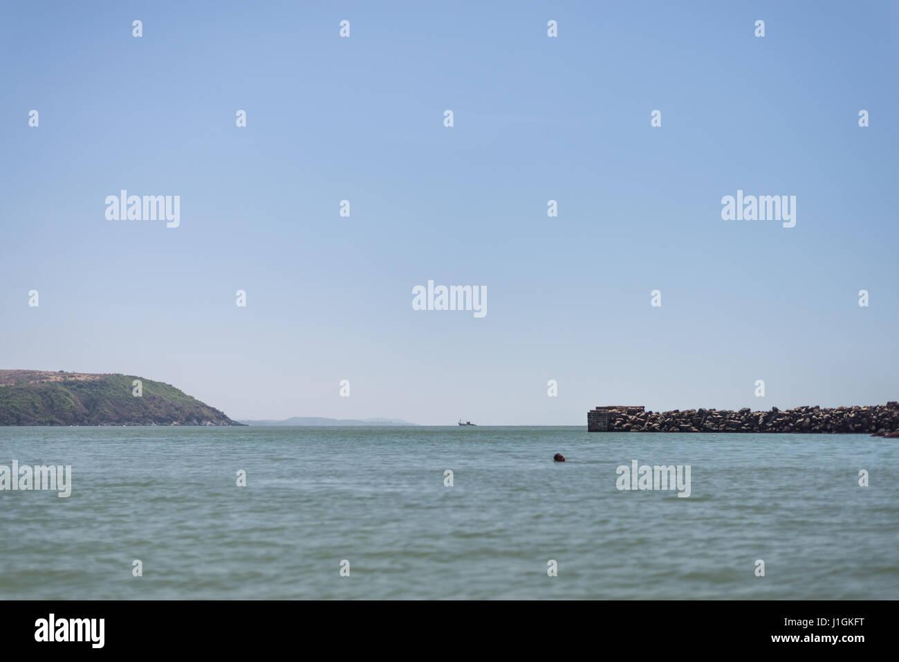 Pier sea and shore - Stock Image