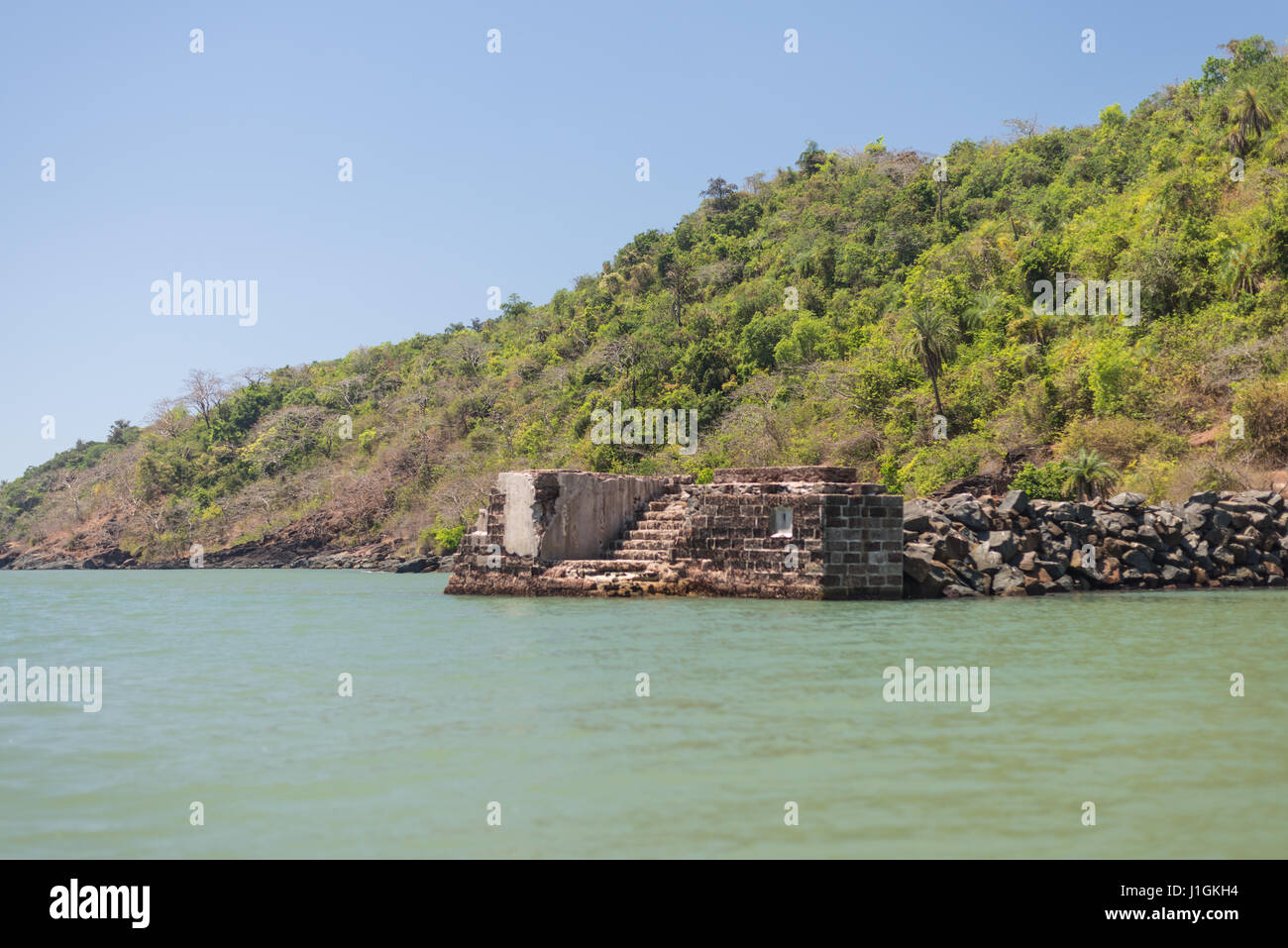 pier made of rocks and stones - Stock Image