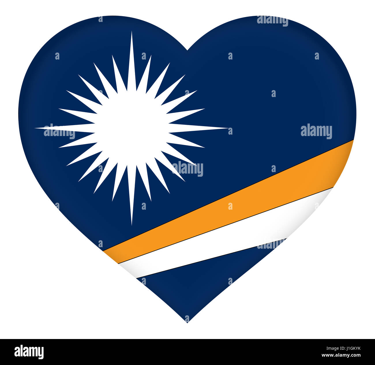 Illustration of the flag of The Marshall Islands shaped like a heart - Stock Image