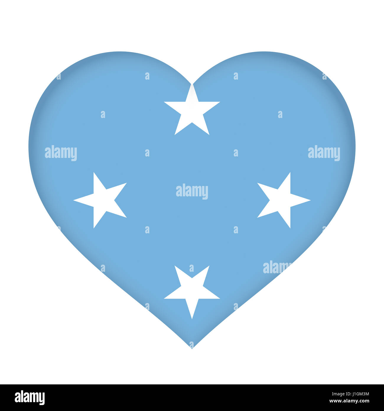 Illustration of the flag of Micronesia shaped like a heart - Stock Image