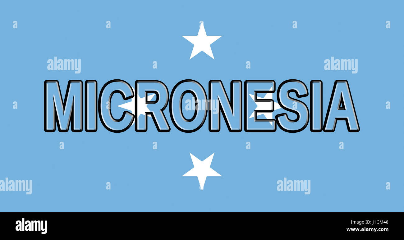 Illustration of the flag of Micronesia with the country written on the flag - Stock Image