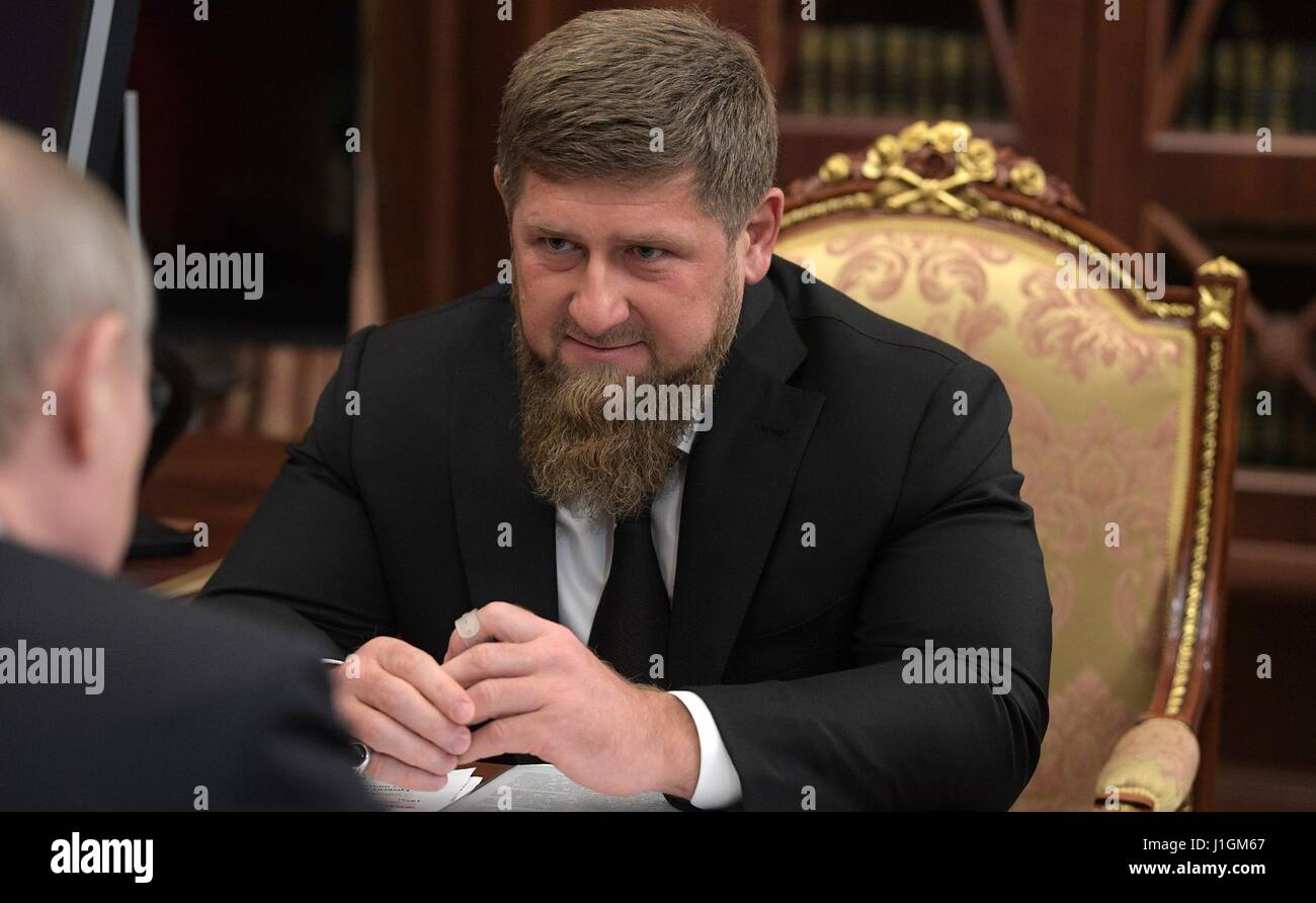 Chechen leader Ramzan Kadyrov during a bilateral meeting with Russian President Vladimir Putin at the Kremlin April - Stock Image