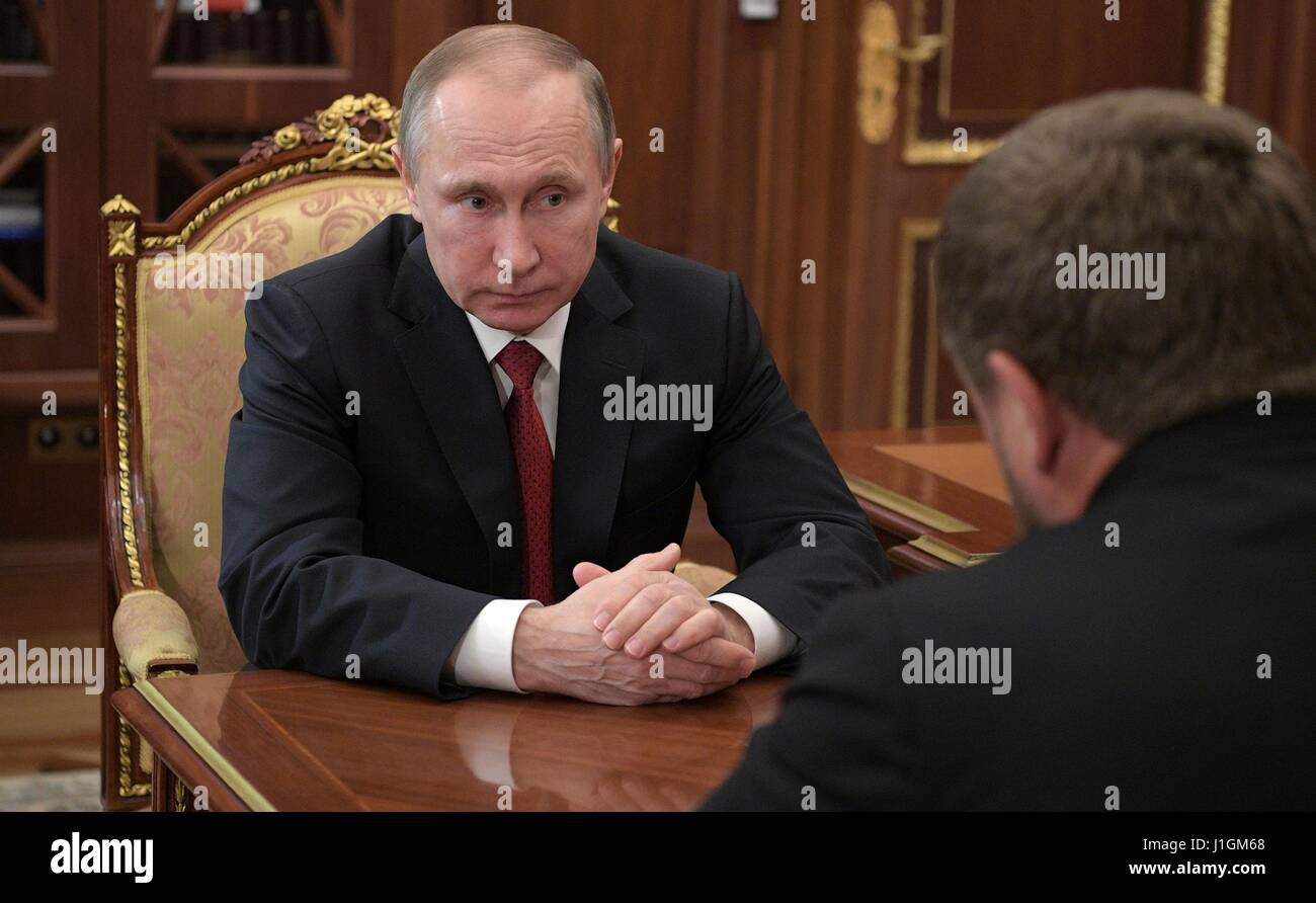 Russian President Vladimir Putin during a bilateral meeting with Chechen leader Ramzan Kadyrov at the Kremlin April - Stock Image