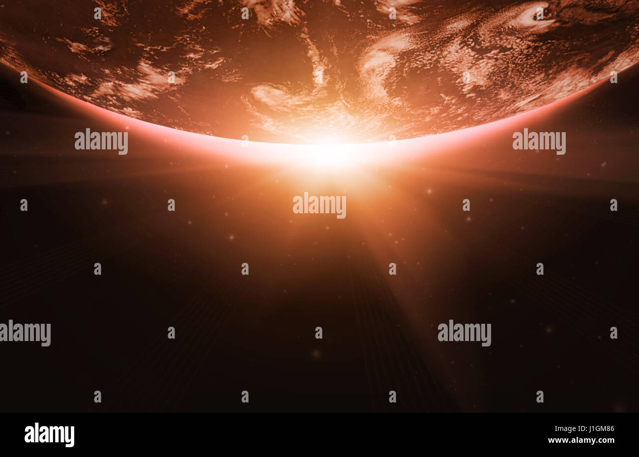 Planet earth with sunrise in the space - Stock Image