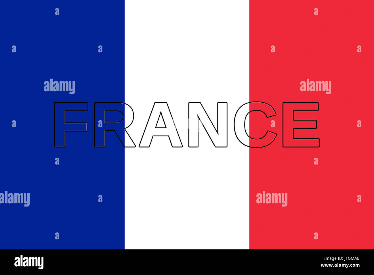 Illustration of the national flag of  France with the word France on the flag - Stock Image