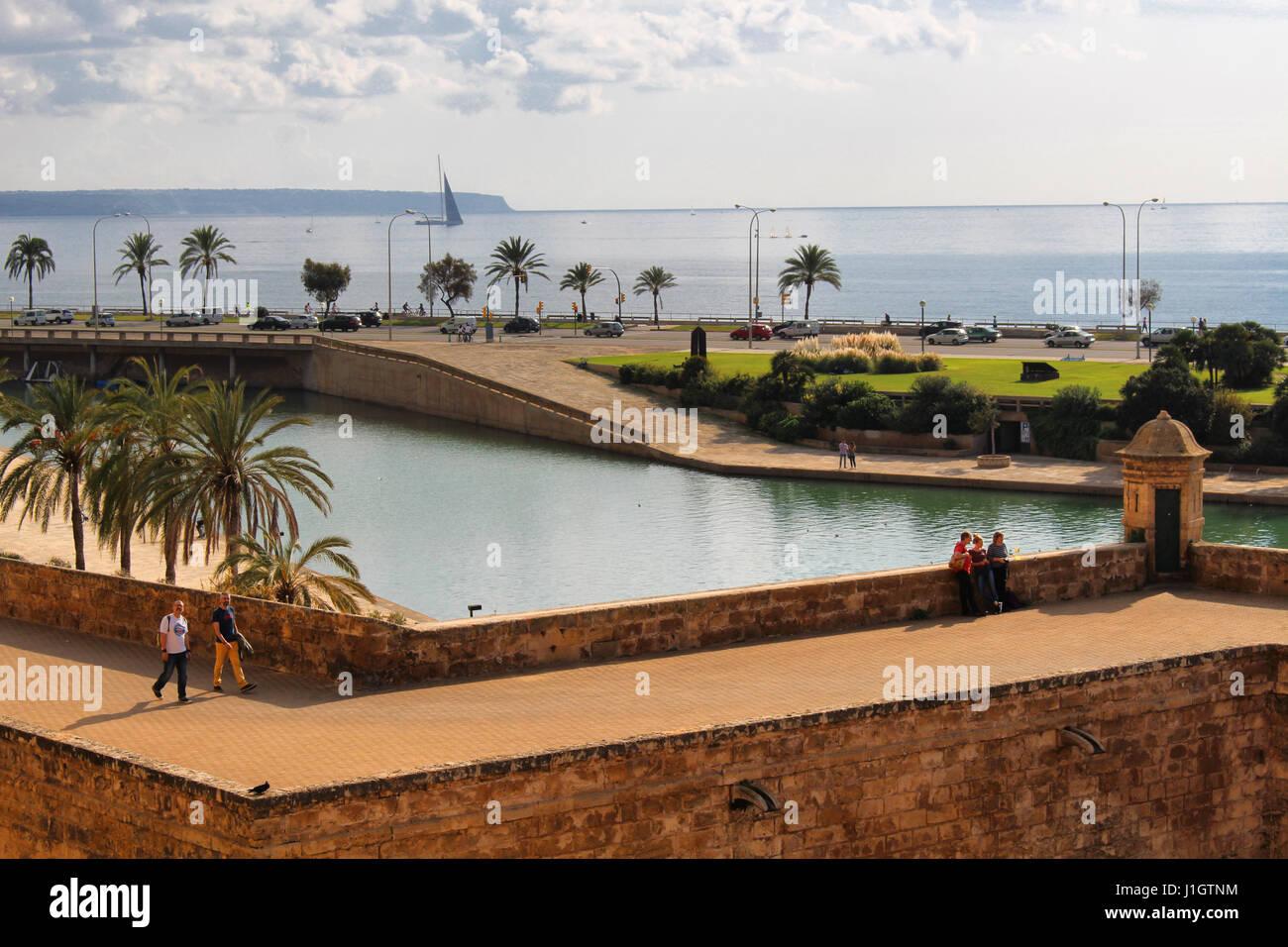 PALMA DE MALLORCA/SPAIN - 19 NOVEMBER 2016: Sea view from Palma de Mallorca's Cathedral - Stock Image