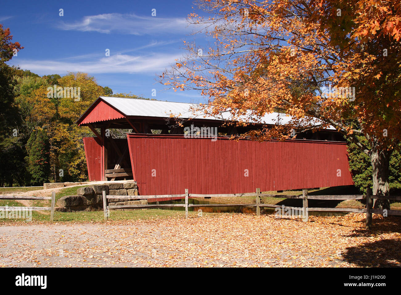 Staats Mill Covered Bridge In Autumn Stock Photo