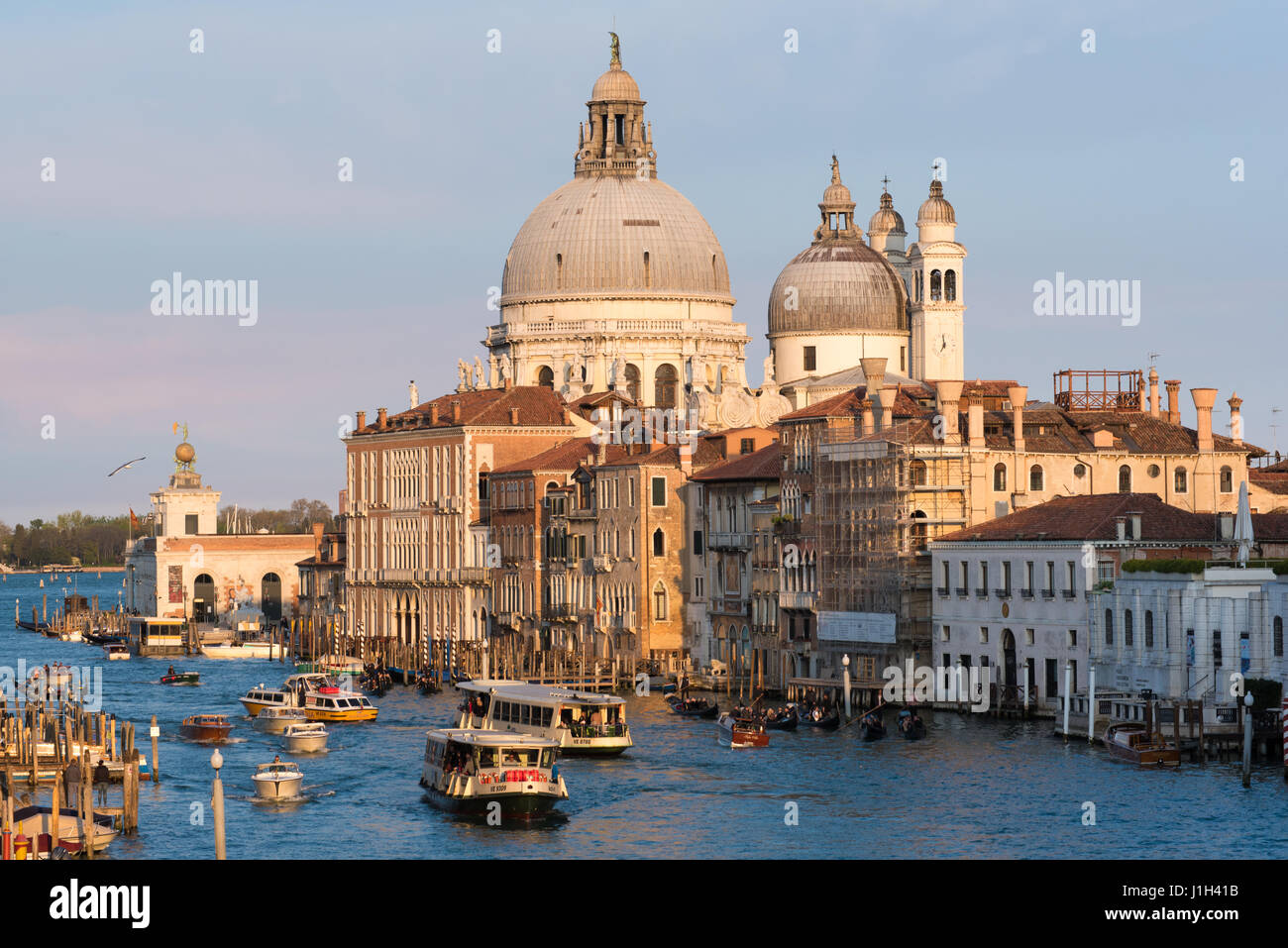 Venice Grand Canal in evening sunshine taken from Ponte dell'Accademia bridge Stock Photo
