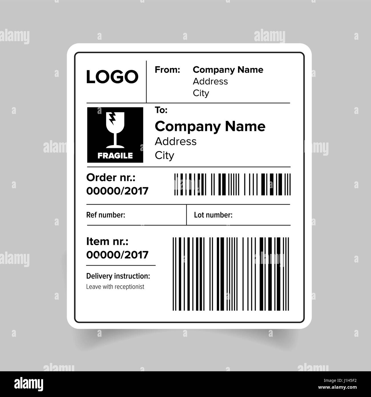 Shipping Label Template Stock Vector Art Illustration Vector - Package label template