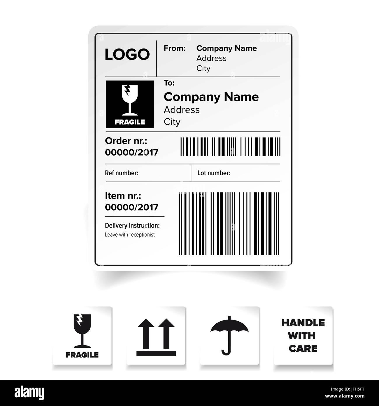 shipping label template stock vector art illustration vector