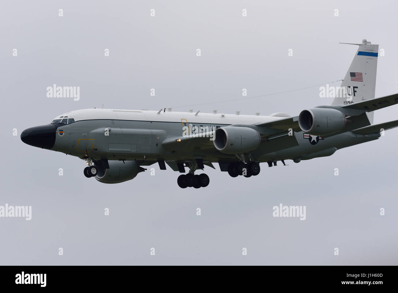 Boeing RC-135W Rivet Joint SIGINT platform - Signals Intelligence - 'Spy Plane' based at Offutt Air Force - Stock Image