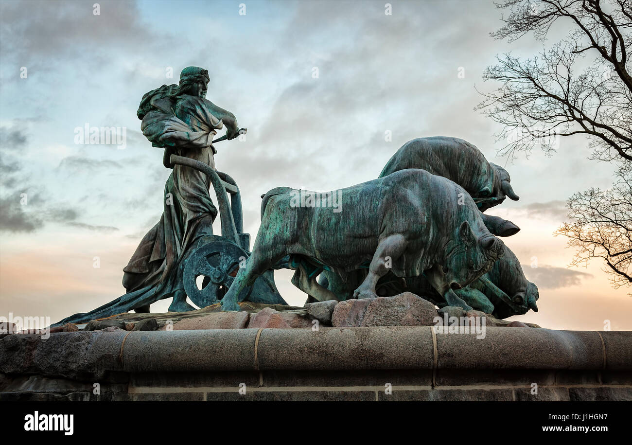 Image of the Gefion fountain at dusk. Copenhagen, Denmark. Stock Photo