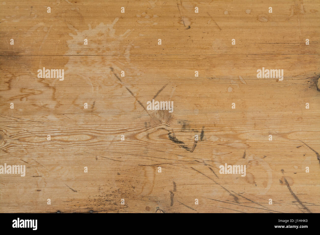water stains on pine table background - Stock Image