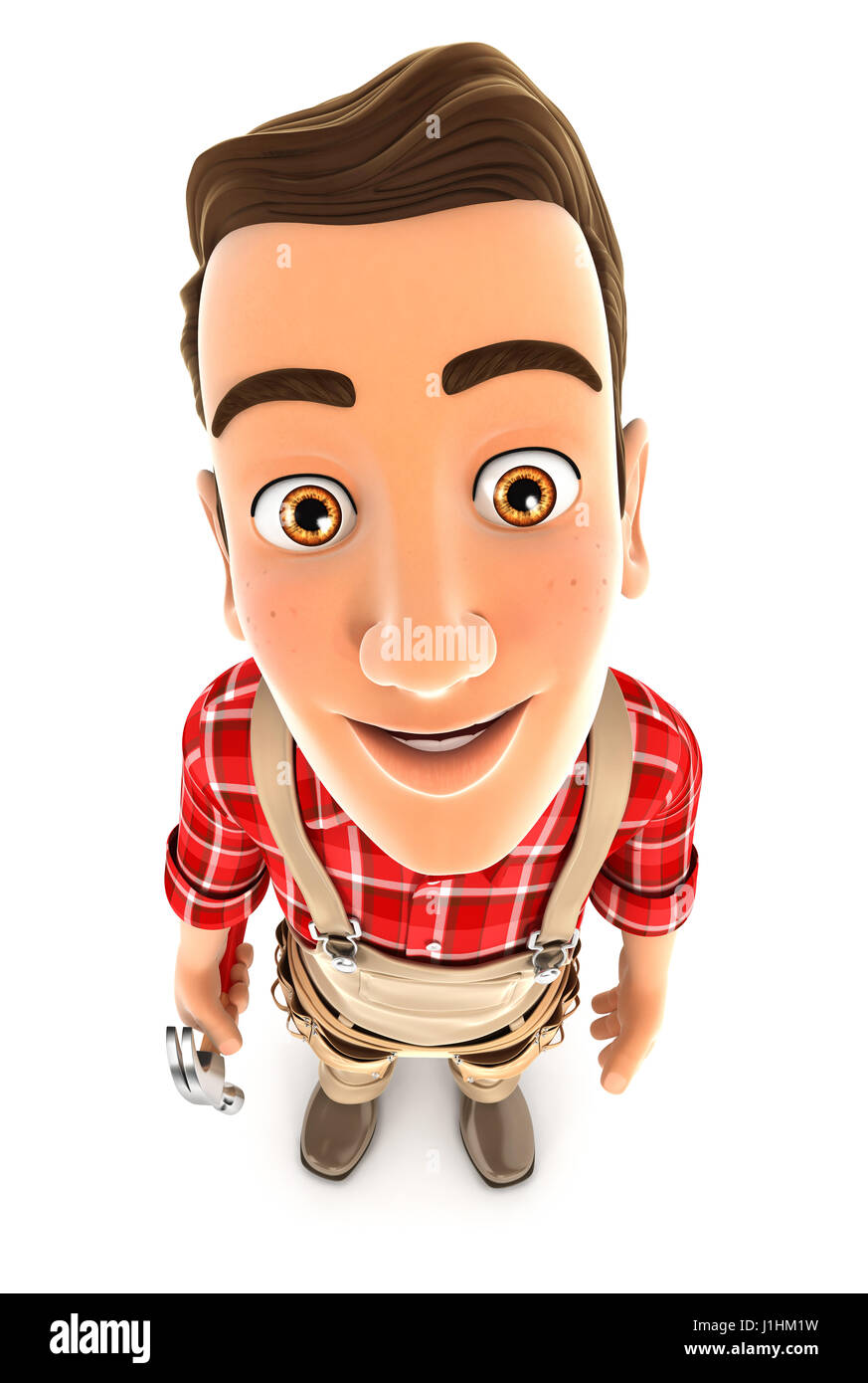 3d handyman standing and looking up at camera, illustration with isolated white background Stock Photo