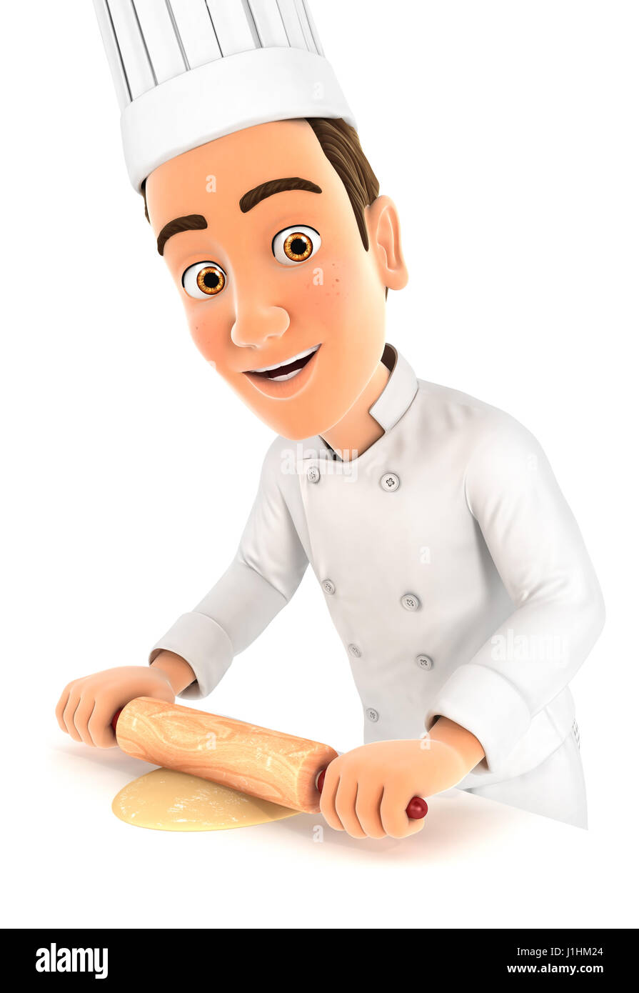 3d head chef using rolling pin, illustration with isolated white background Stock Photo
