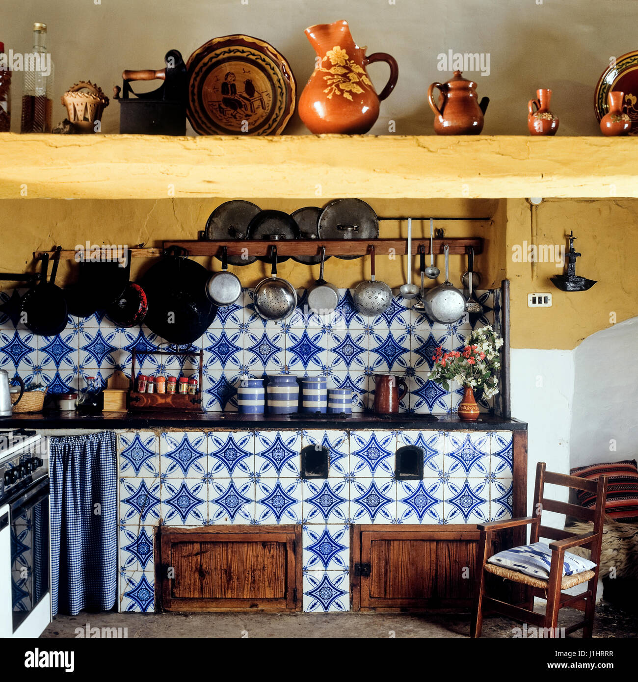 Tiled kitchen. Stock Photo