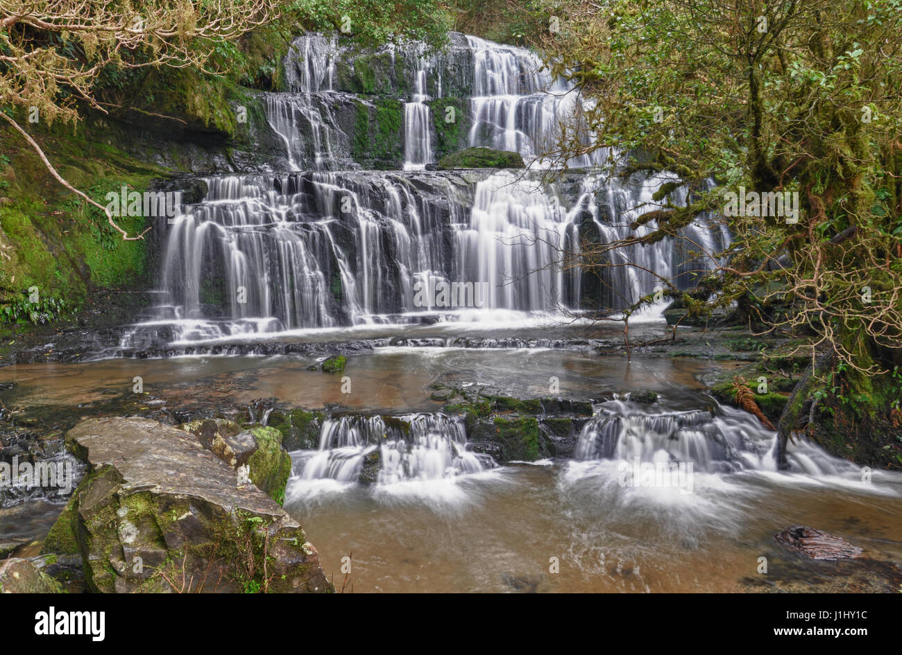 The majestic Purakaunui Falls in The Catlins, the Southern Scenic Route in New Zealand - Stock Image