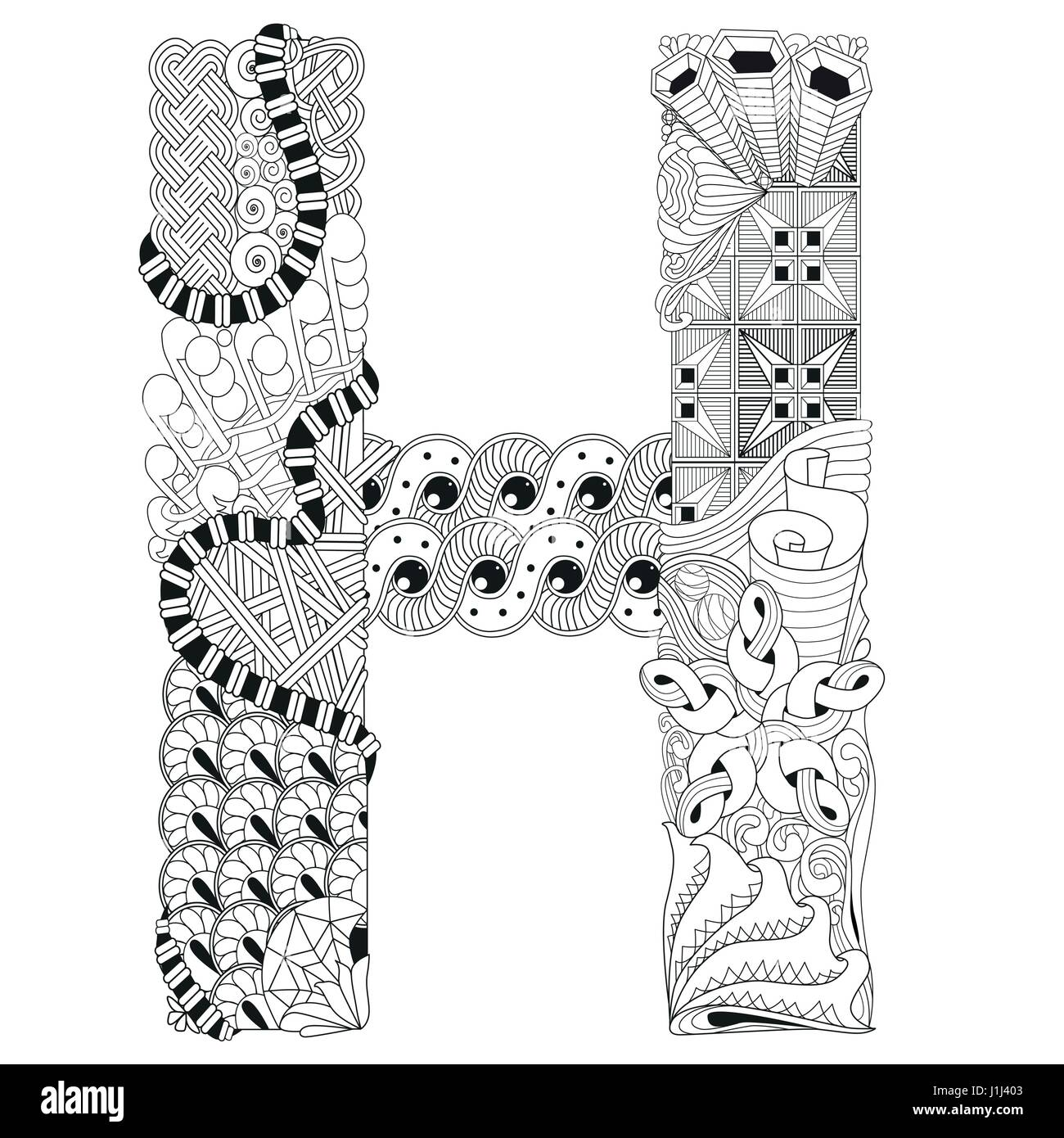 Letter h for coloring vector decorative zentangle object stock letter h for coloring vector decorative zentangle object altavistaventures Choice Image