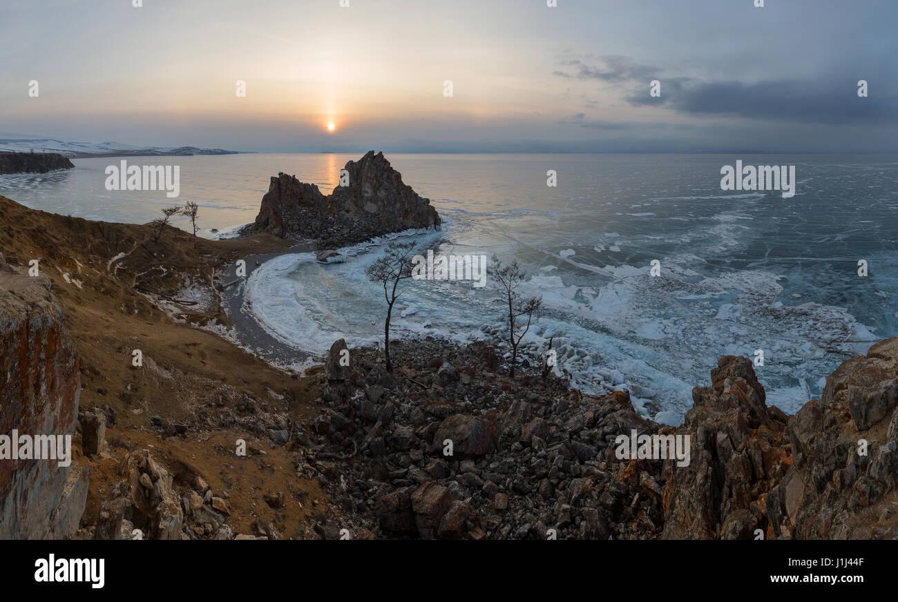 Sunset on Lake Baikal. Burkhan Cape, Olkhon island, Lake Baikal, Irkutsk region, Russia. - Stock Image
