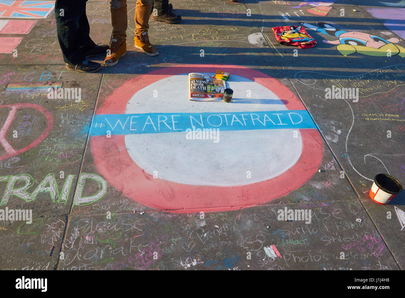 We are not afraid pavement street art after the Westminster terrorist attack, Trafalgar Square, London, England - Stock Image