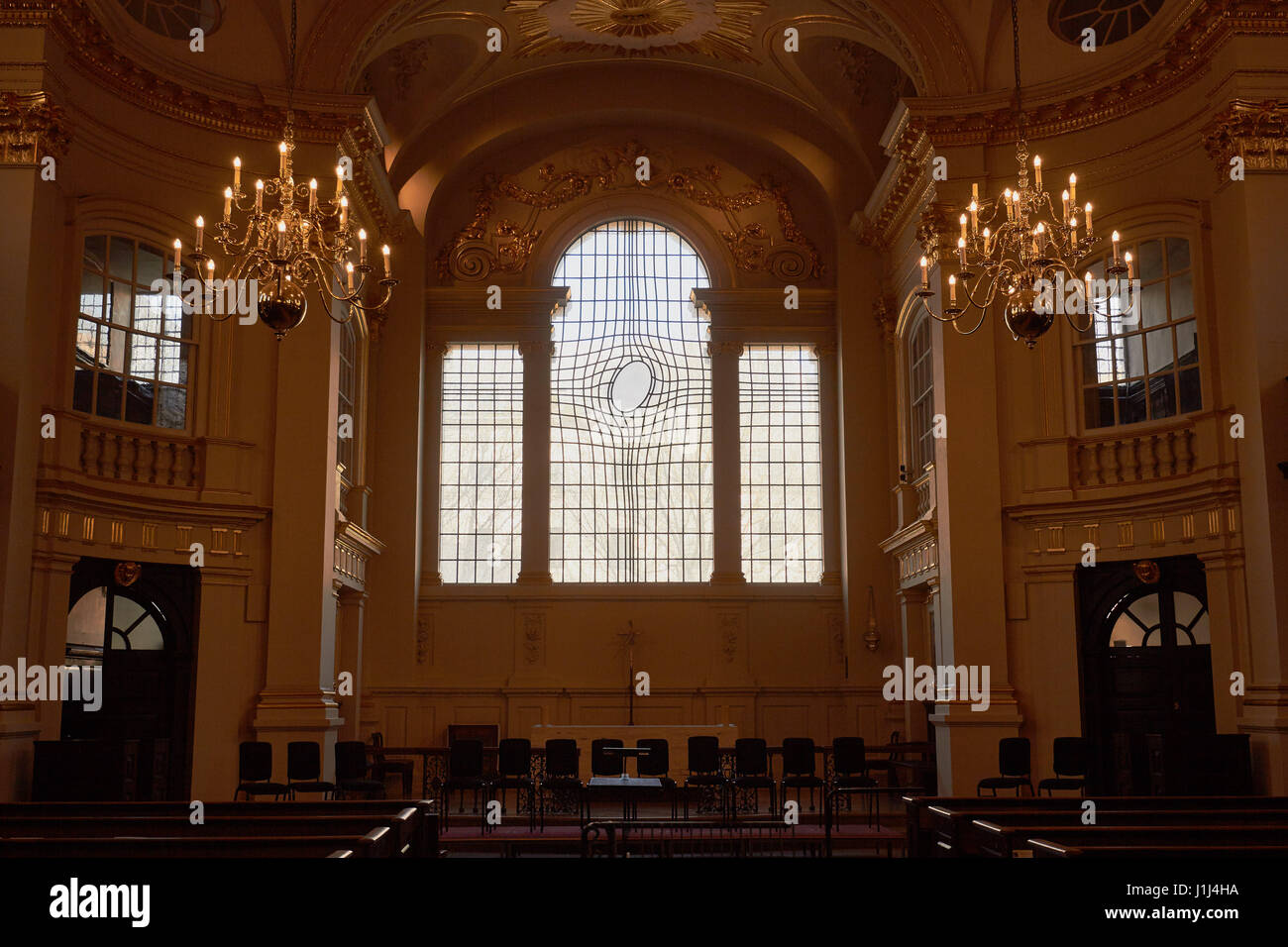 Warped East window by Iranian artist Shirazeh Houshiary, St Martin in the Fields (designed by James Gibbs 1722-26), - Stock Image