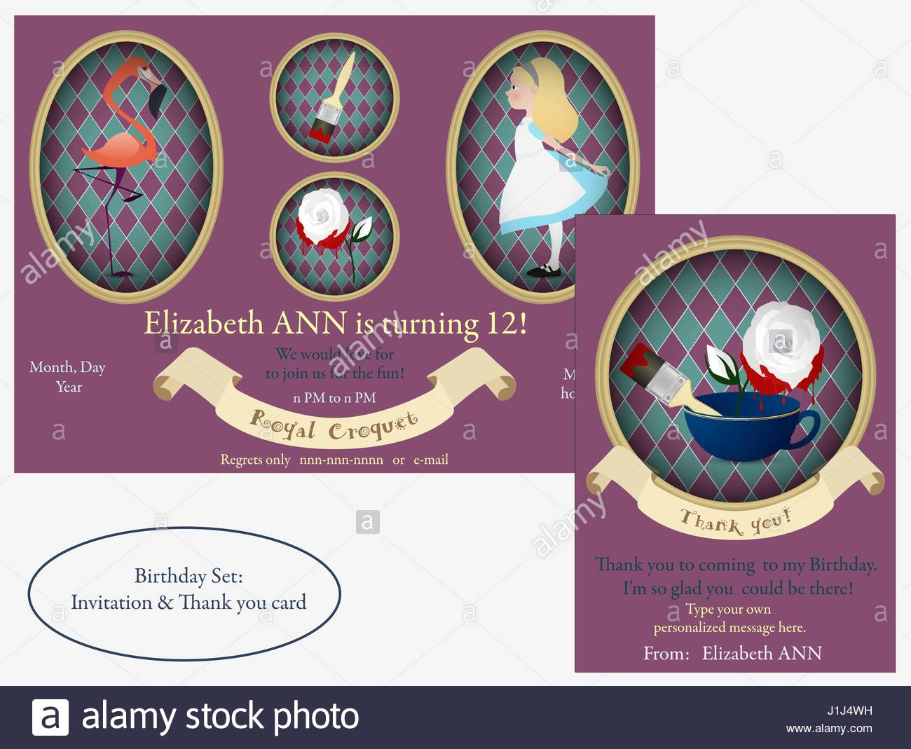 Alice In Wonderland Birthday Invitation White Roses With Red Paint
