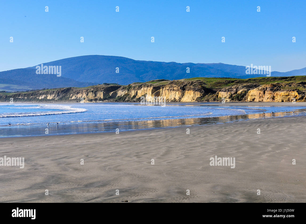 View of the beach near Monkey Island in the Southern Scenic Route, New Zealand - Stock Image