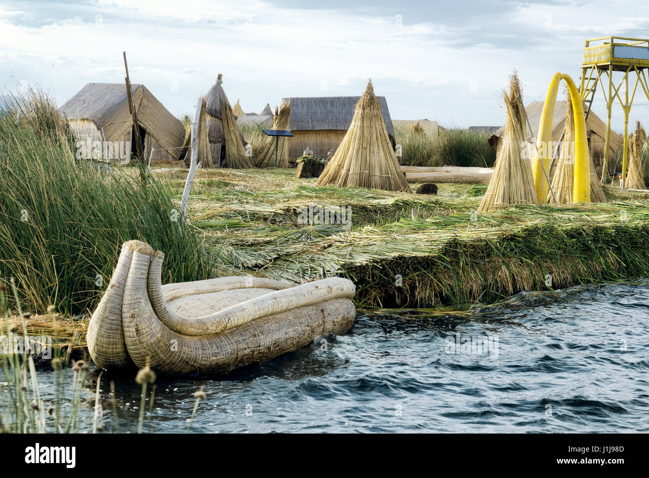 The Uros Floating Islands on Lake Titicaca, Peru - Stock Image