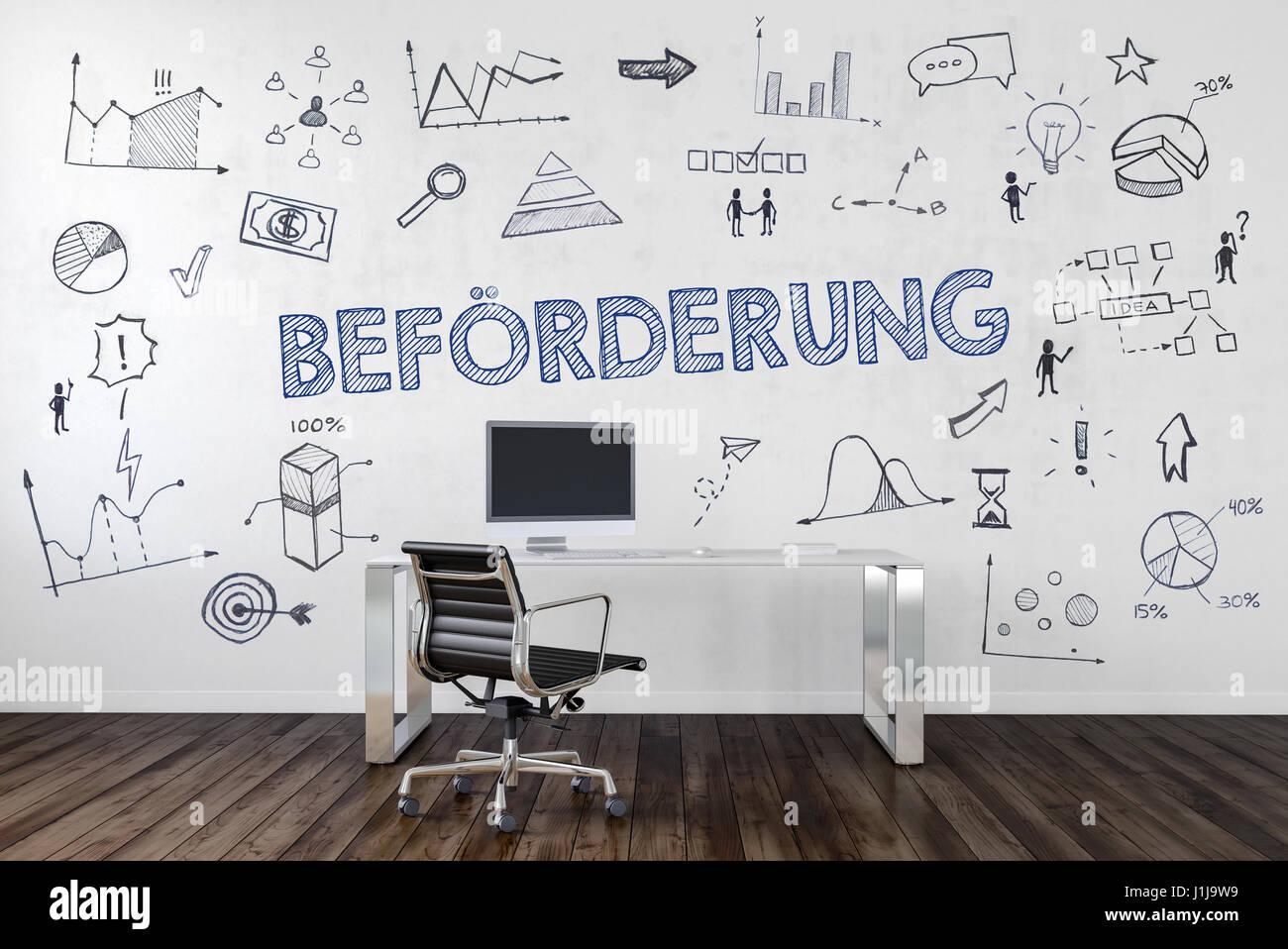 BEFÖRDERUNG | Schreibtisch in Büro mit handgezeichneten Symbolen an Wand. Stock Photo