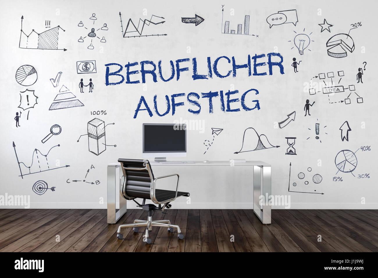 BERUFLICHER AUFSTIEG | Schreibtisch in Büro mit handgezeichneten Symbolen an Wand. Stock Photo
