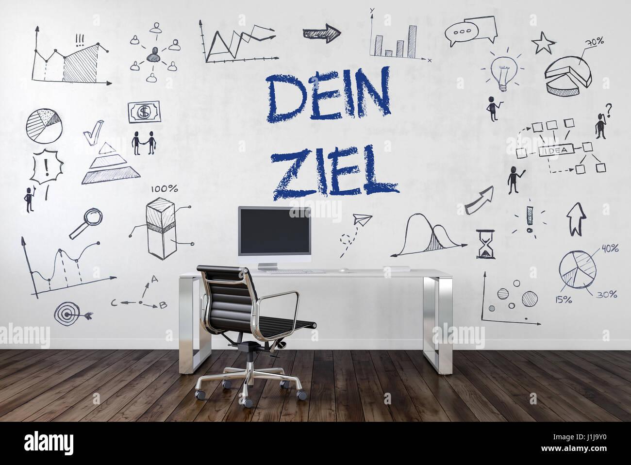 DEIN ZIEL | Schreibtisch in Büro mit handgezeichneten Symbolen an Wand. Stock Photo