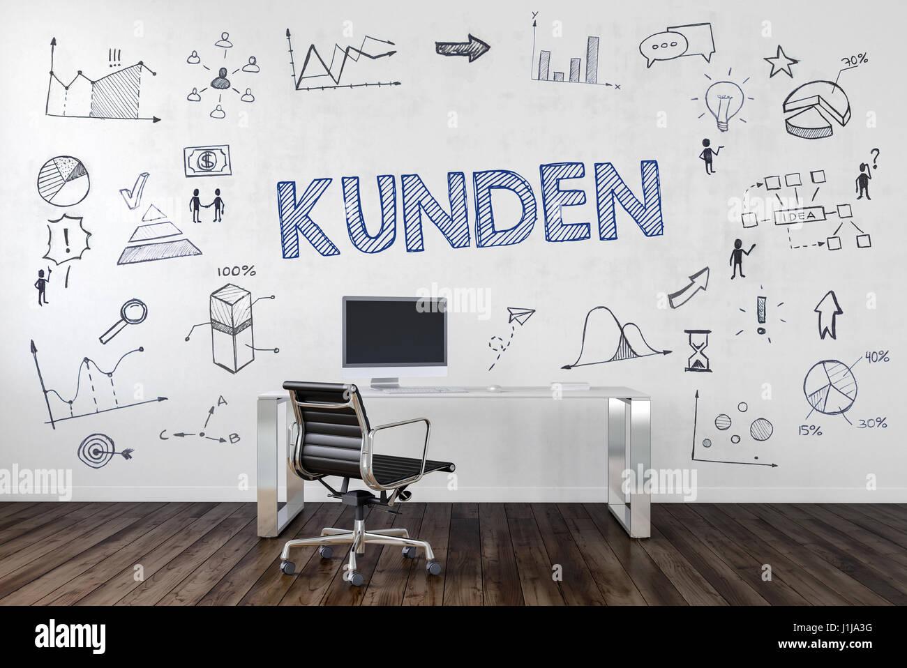 KUNDEN | Schreibtisch in Büro mit handgezeichneten Symbolen an Wand. Stock Photo