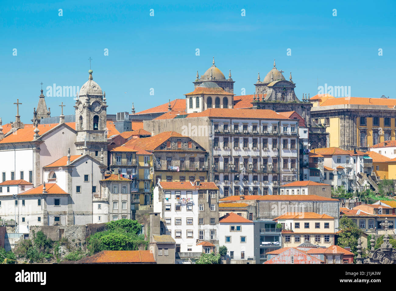 Ribeira Porto Portugal, view of the historic waterfront buildings of the old town Ribeira district in the centre - Stock Image