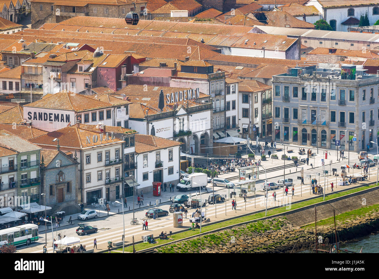 Porto Portugal Gaia, view of the port wine lodges sited along the waterfront of the Douro river in the Gaia district - Stock Image