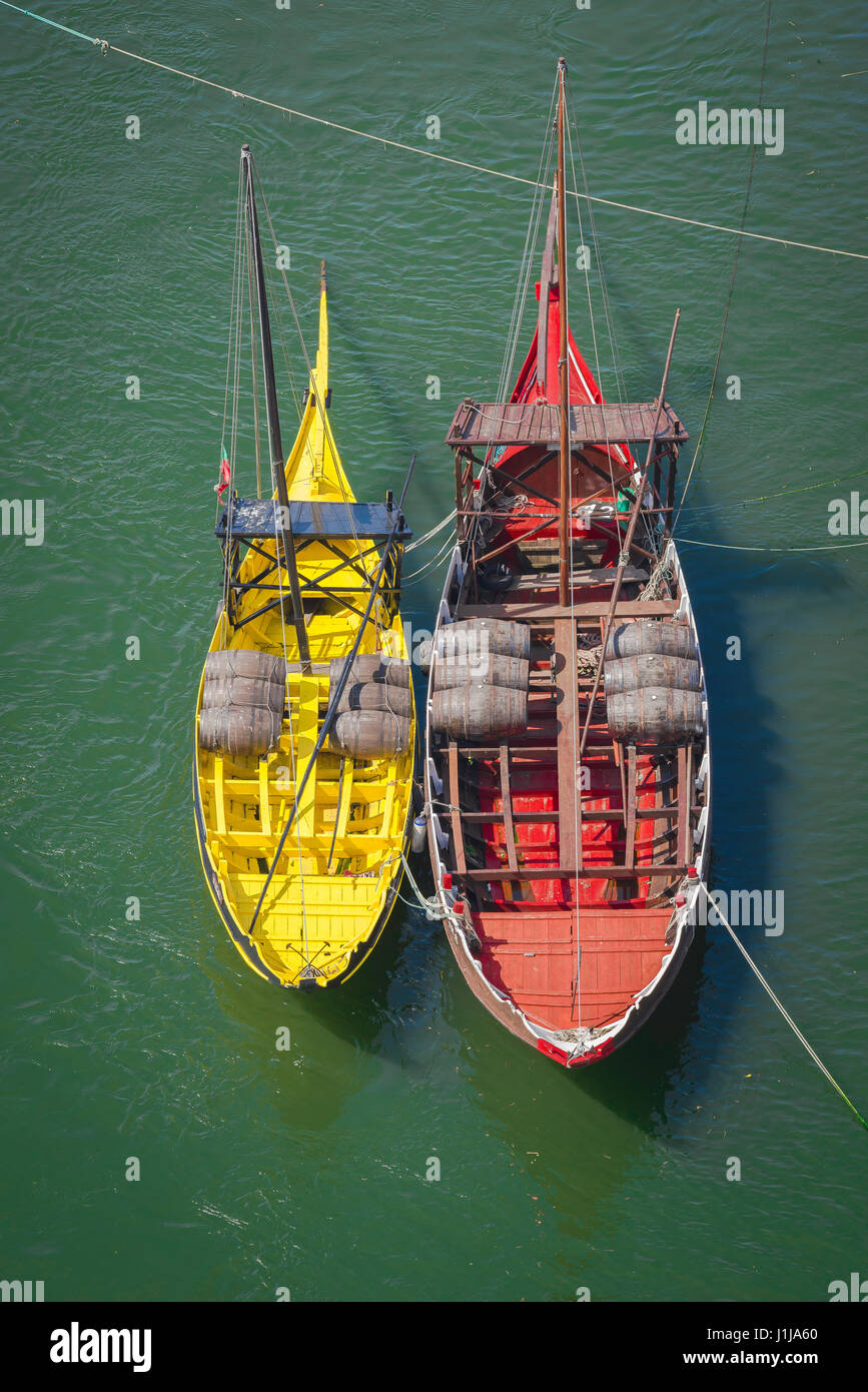 Rabelo boat Porto, colourful traditional rabelo boats moored along the Douro waterfront in Porto, Europe. Stock Photo