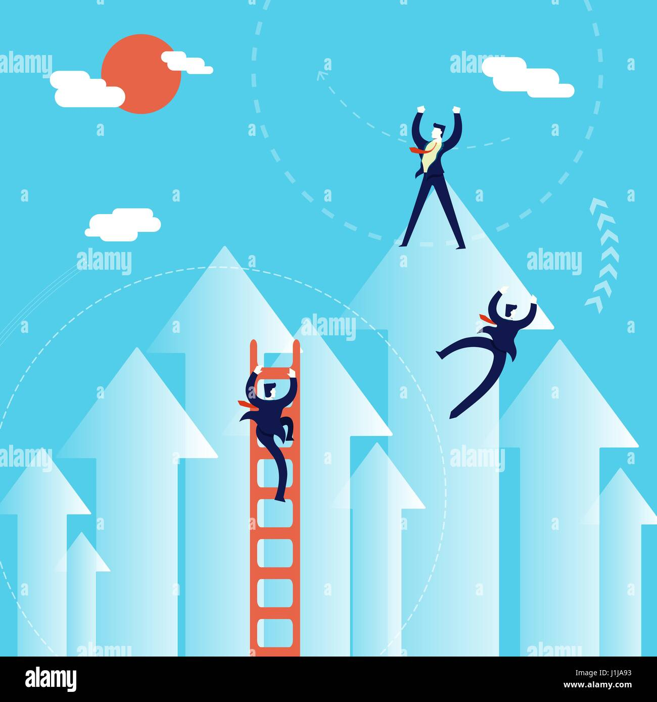 Business growth concept illustration, businessmen team climbing positive direction to success. EPS10 vector. - Stock Image