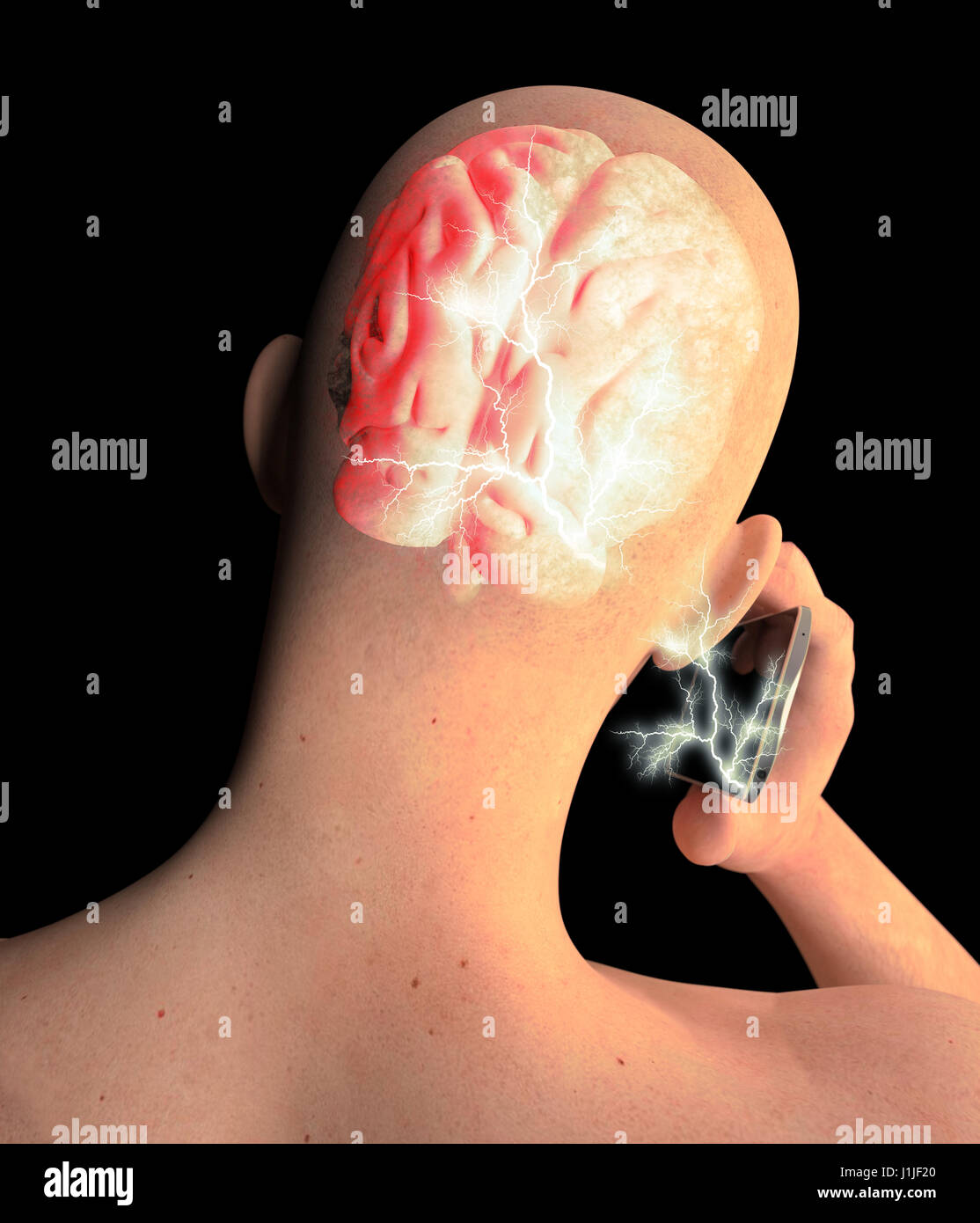 Brain, Man with Cell Phone, Brain Problems, Cause Of Tumor, Degenerative Diseases, Parkinson's, Profile Face. - Stock Image