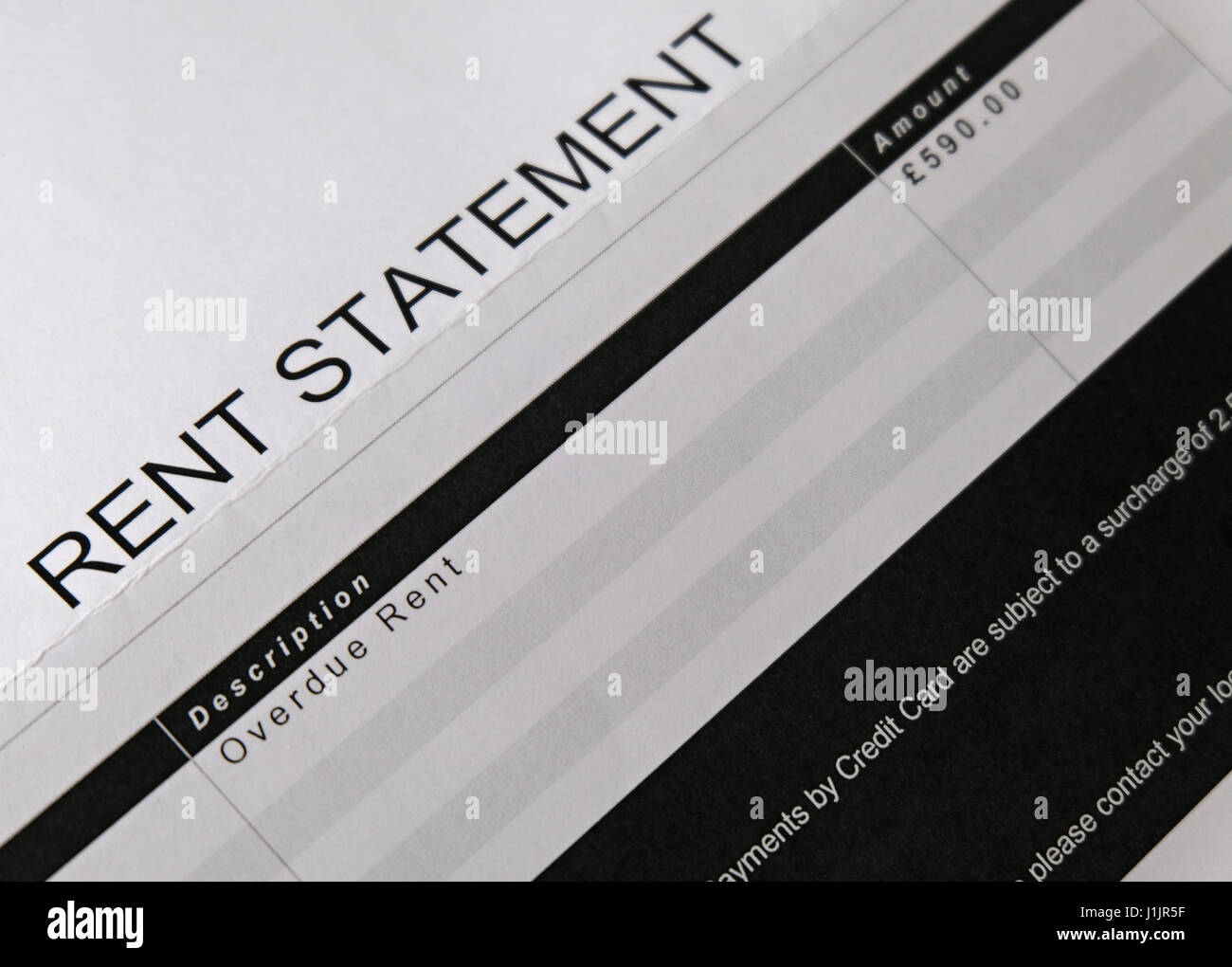 UK Rent Statement showing rent overdue - Stock Image
