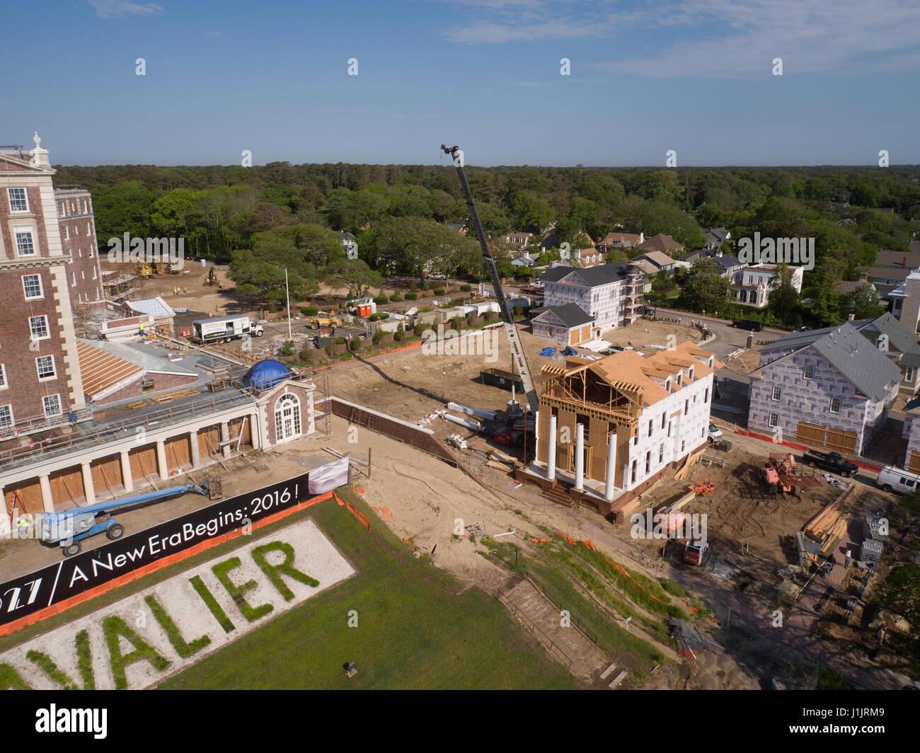 Aerial of construction at old Cavalier Hotel, Virginia Beach, VA - Stock Image