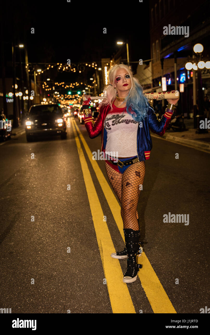 Harley Quinn in the streets of Florida - Stock Image