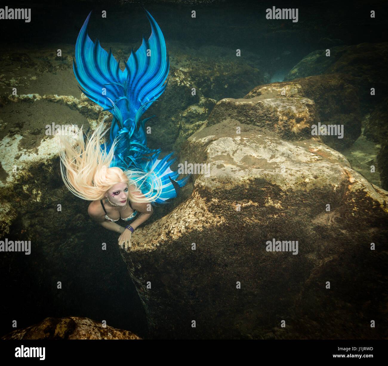 Mermaid in the Salt Springs in Florida, USA - Stock Image