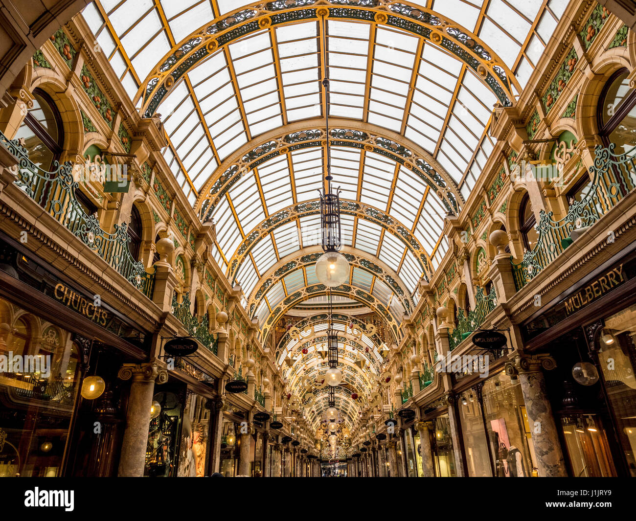 County Arcade interior at Christmas, Leeds, UK - Stock Image
