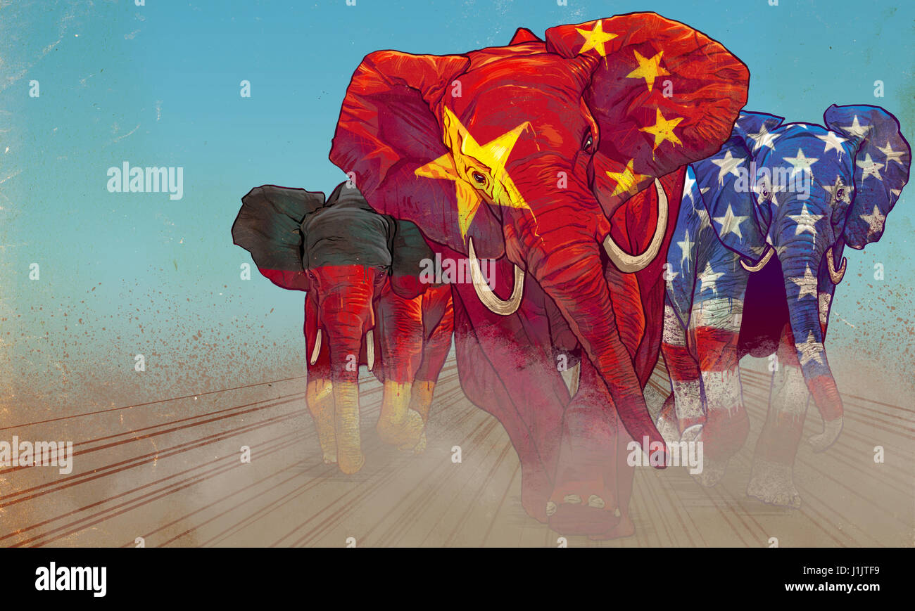 Running elephants painted in national flags colors - Stock Image