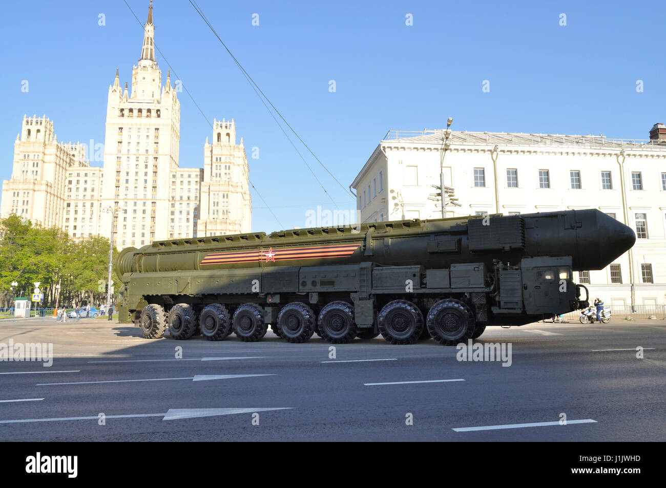 An RS-24 Yars mobile intercontinental ballistic missile system, going to Moscow's Red Square to Victory Day - Stock Image