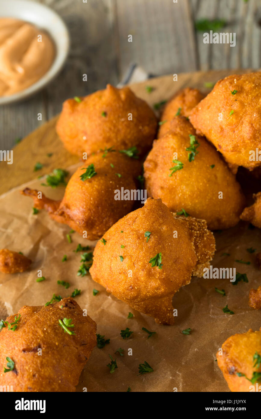 Homemade Deep Fried Hush Puppy Corn Fritters - Stock Image
