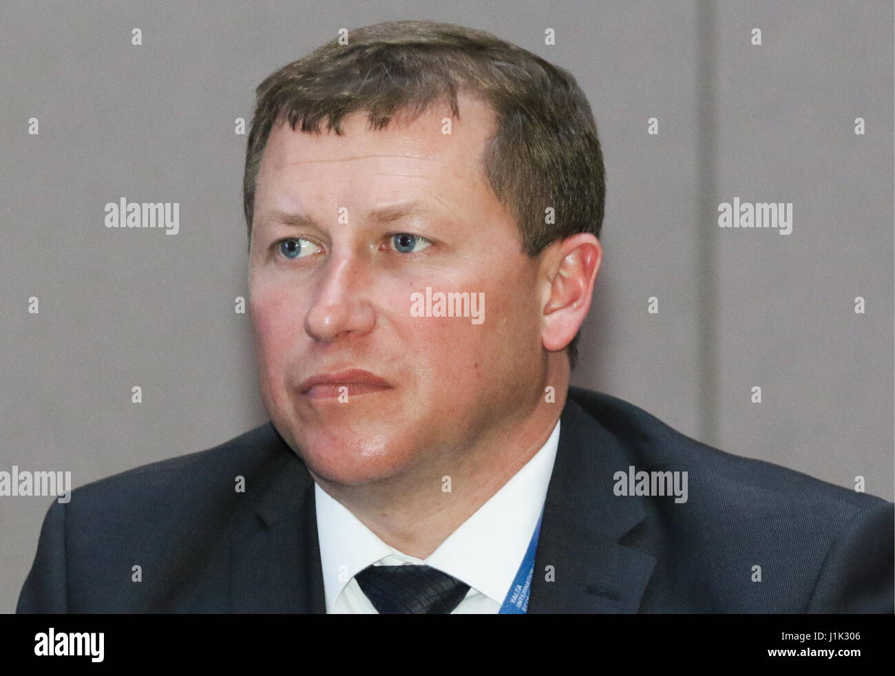 YALTA, CRIMEA, RUSSIA – APRIL 20, 2017: Simferopol Airport CEO Yevgeny Plaksin looks on at a panel session titled - Stock Image