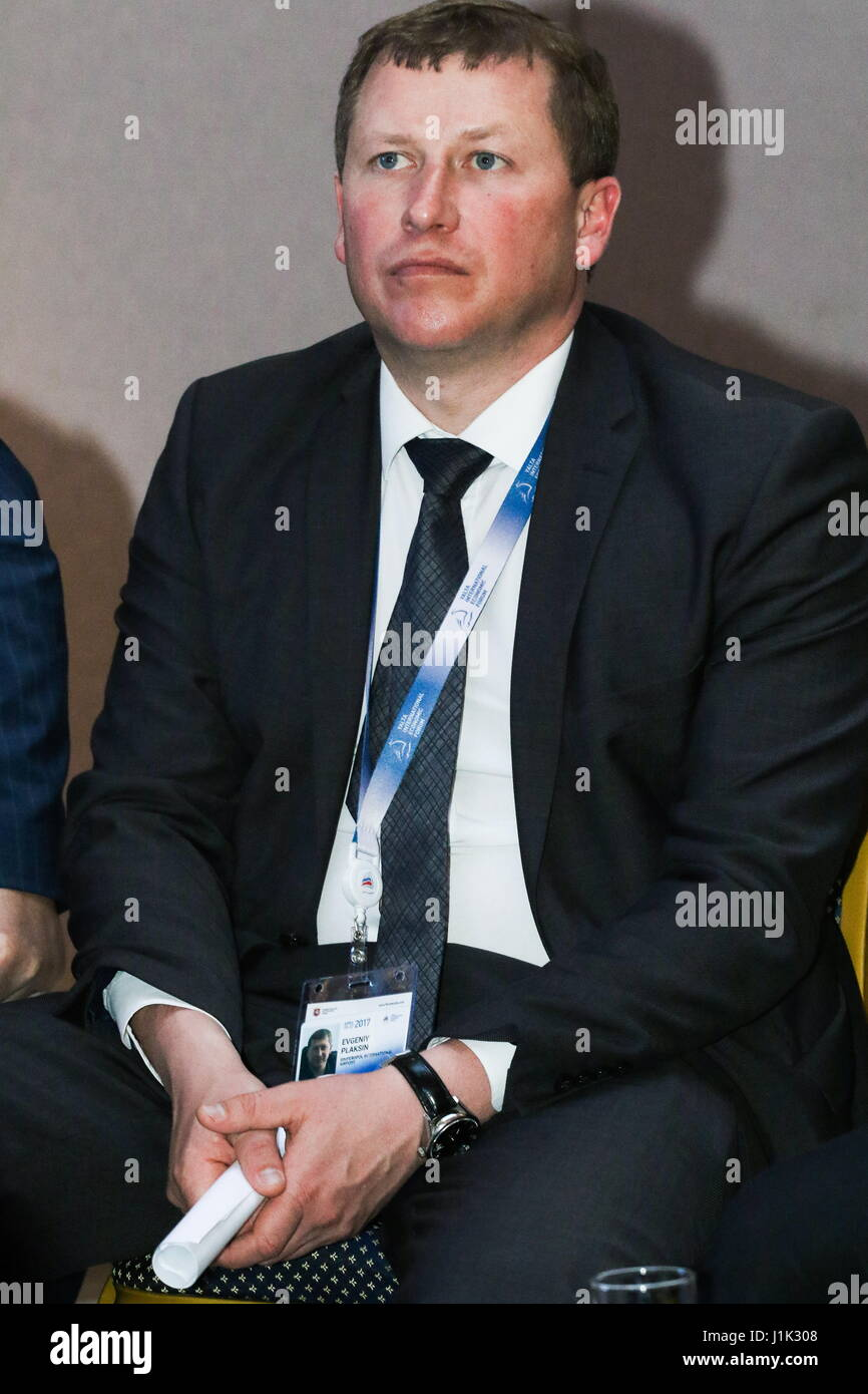 YALTA, CRIMEA, RUSSIA – APRIL 20, 2017: Simferopol Airport CEO Yevgeny Plaksin attends a panel session titled 'Transport - Stock Image