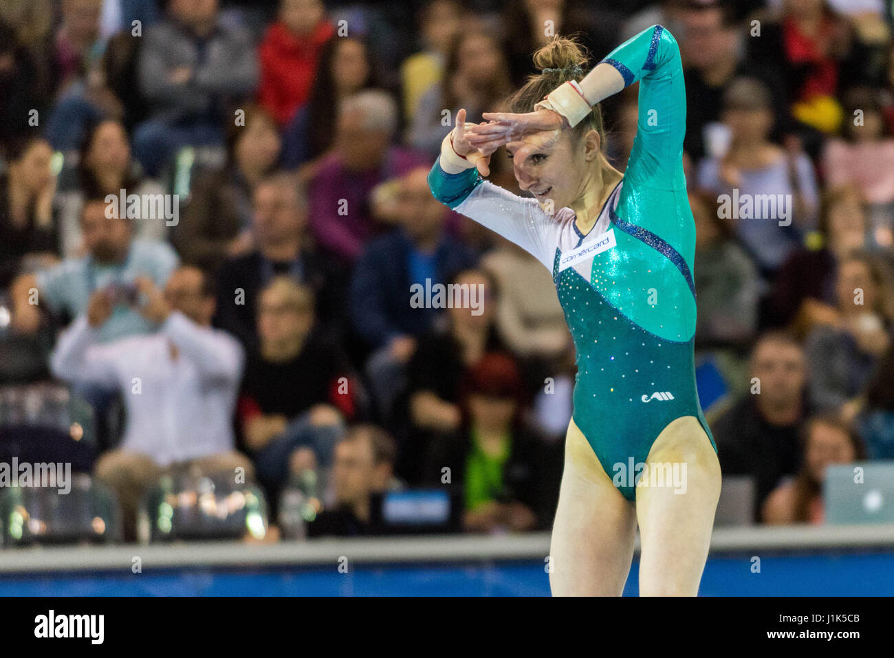 Ilaria Kaeslin (SUI) performs on the floor during the Women's Apparatus Finals at the European Men's and Women's Stock Photo