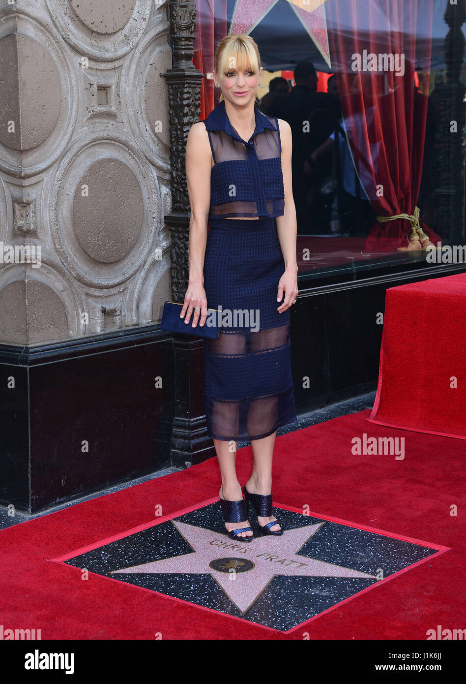 Anna Faris 032 at the Chris Pratt Star ceremony on the Hollywood Walk of Fame in Los Angeles. April 21, 2017 - Stock Image
